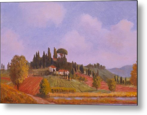 On Location Landscape In Tuscany Italy Metal Print featuring the painting Tuscan Hillside by David Olander
