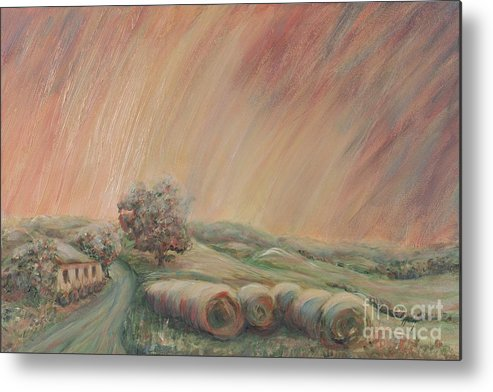 Landscape Metal Print featuring the painting Tuscany Hayfields by Nadine Rippelmeyer
