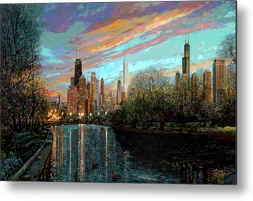 City Metal Print featuring the painting Twilight Serenity II by Doug Kreuger
