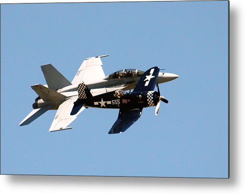 Military Aircraft Metal Print featuring the photograph Two Fighter 03 by Ross Powell