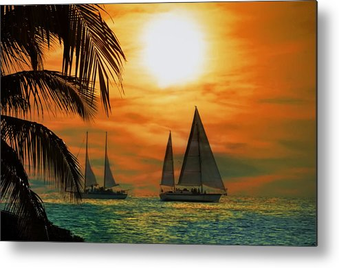 Sail Metal Print featuring the photograph Two Ships Passing In The Night by Bill Cannon