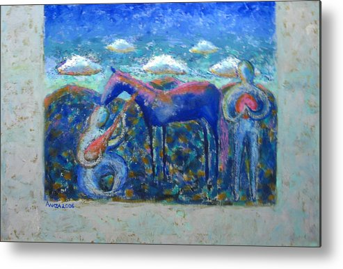Horse Metal Print featuring the painting Two Spirits by Aliza Souleyeva-Alexander
