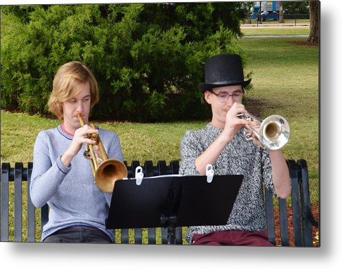 Two Trumpets Metal Print featuring the photograph Two Trumpets by Warren Thompson