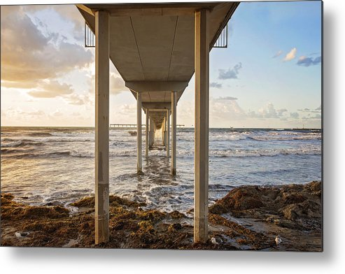 Ocean Metal Print featuring the photograph Under The Pier by Anita McLeod Turner