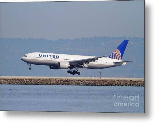 United Metal Print featuring the photograph United Airlines Jet Airplane . 7d11794 by Wingsdomain Art and Photography