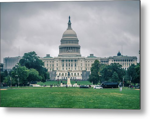 Usa Metal Print featuring the photograph United States Capitol Building On A Foggy Day by Alex Grichenko