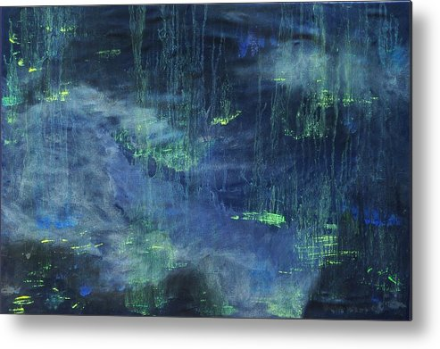 Abstract Metal Print featuring the painting Untitled Blue by Kim Nelson
