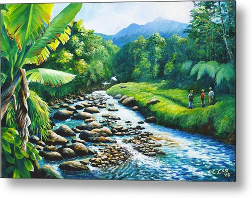 Chris Cox Metal Print featuring the painting Upriver by Christopher Cox