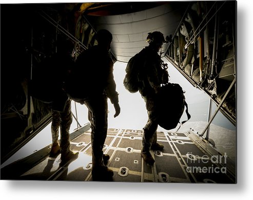 Exercise Emerald Warrior Metal Print featuring the photograph U.s. Army Green Berets Wait To Jump by Stocktrek Images