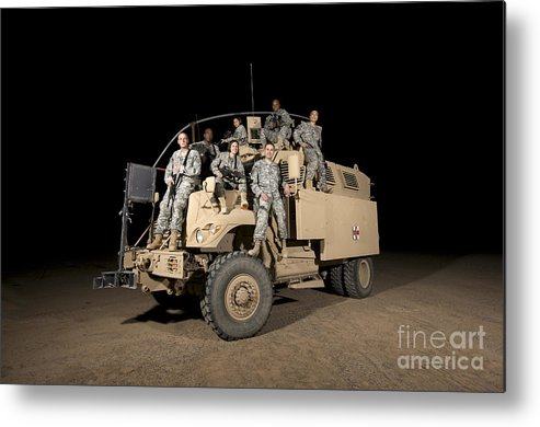 Horizontal Metal Print featuring the photograph U.s. Army Medical Personnel Pose by Terry Moore
