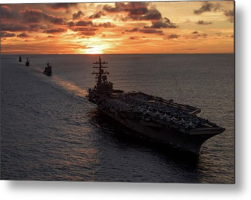 Military Metal Print featuring the painting Us Navy Military Aircraft Carrier by US Navy Military