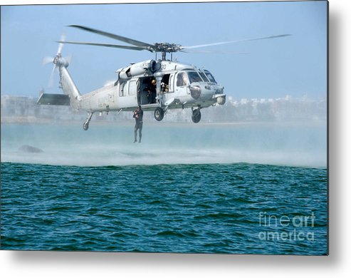 U.s. Navy Sh-60s Sea Hawk Helicopter Credit Us Navy Metal Print featuring the painting U.s. Navy Sh-60s Sea Hawk Helicopter by Celestial Images