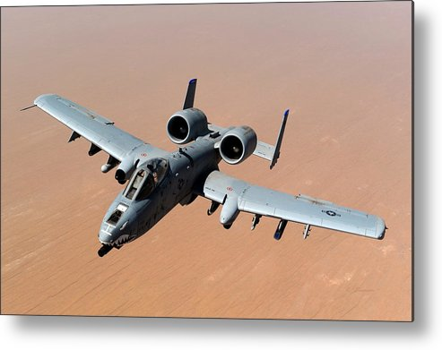 Fairchild Republic A-10 Thunderbolt Ii American Twin-engine Metal Print featuring the photograph Usaf A-10 Thunderbolt II Over Afghanistan by L Brown