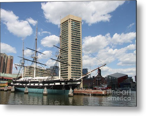 All Sail War Ship Metal Print featuring the photograph Uss Constellation - Baltimore Inner Harbor by Christiane Schulze Art And Photography