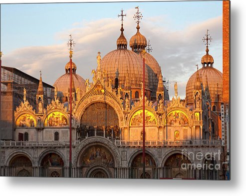 Venice Metal Print featuring the photograph Venice Church Of St. Marks At Sunset by Heiko Koehrer-Wagner