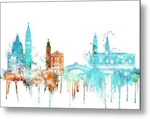 Venice Metal Print featuring the painting Venice Watercolor Skyline by Dim Dom