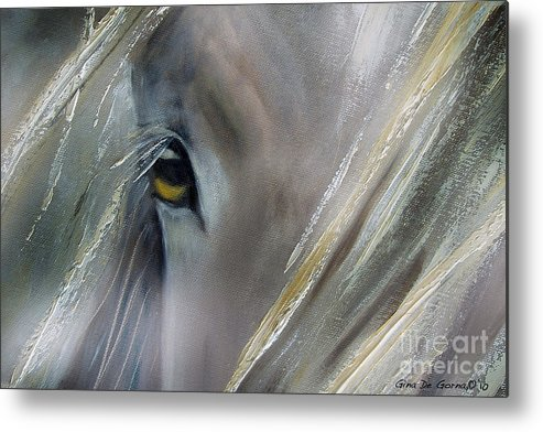 Horses Metal Print featuring the painting View by Gina De Gorna