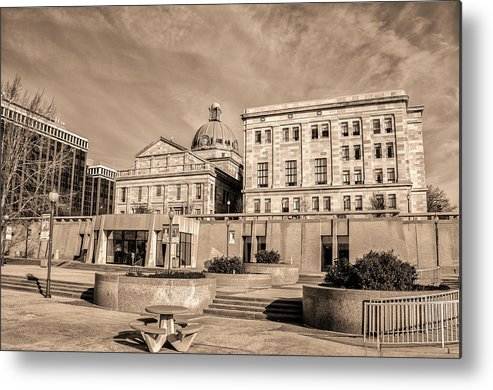 The Metal Print featuring the photograph View Of Montgomery County Courthouse From The Southside In Sepia by Bill Cannon