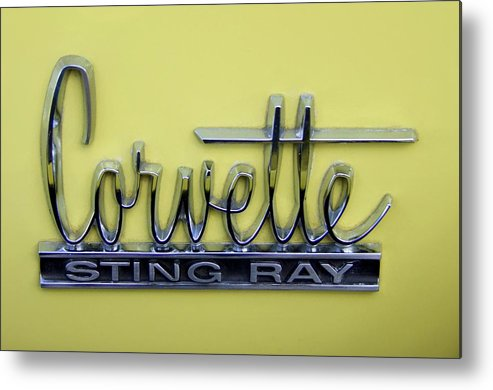 Corvette Metal Print featuring the photograph Vintage Corvette Sting Ray Emblem by Mary Deal