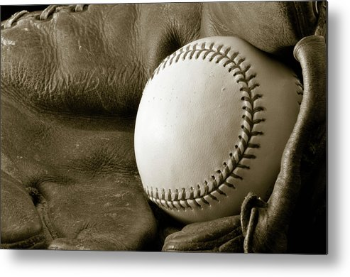 Baseball Metal Print featuring the photograph Vintage Glove by Shawn Wood