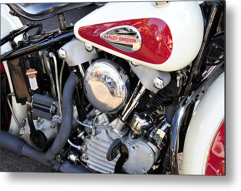 Vintage Harley Davidson Motorcycle Metal Print featuring the photograph Vintage Harley V Twin by David Lee Thompson