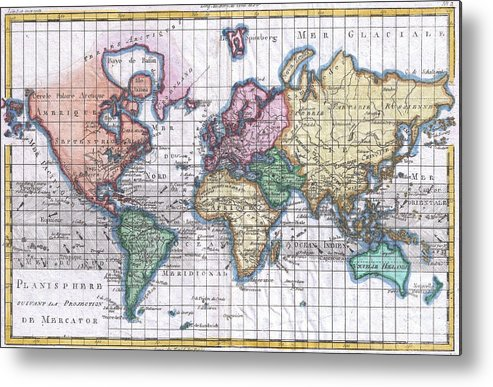 Vintage map of the world 1780 metal print by cartographyassociates world metal print featuring the drawing vintage map of the world 1780 by cartographyassociates gumiabroncs Gallery