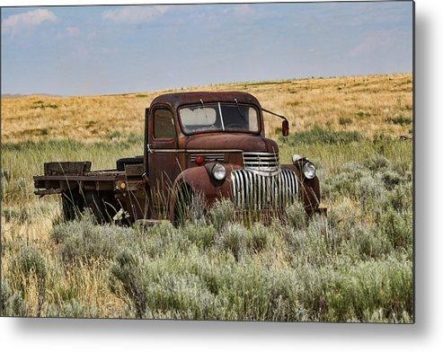 Vintage Truck In Field Metal Print featuring the photograph Vintage Truck In Field by Lorri F