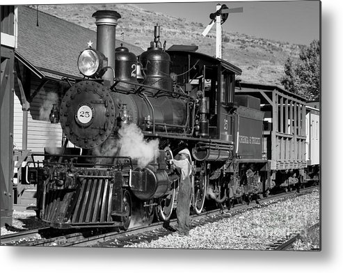 Virginia And Truckee Metal Print featuring the photograph Virginia And Truckee Engine 25 Monochrome by Webb Canepa