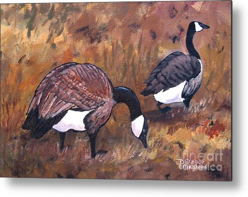 Geese Metal Print featuring the painting Waddle Waltz by Diane Ellingham