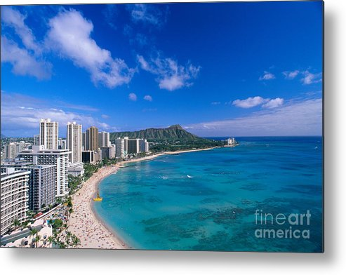 Aerial Metal Print featuring the photograph Waikiki And Diamond Head by William Waterfall - Printscapes