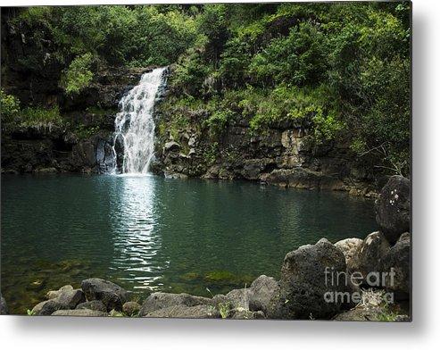 Falls Metal Print featuring the photograph Waimea Falls by Charmian Vistaunet