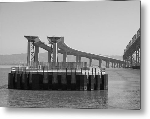 Water Metal Print featuring the photograph Waiting For The Bridge by Jerry Patchin