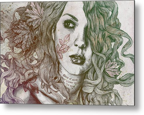 Graffiti Metal Print featuring the drawing Wake - Autumn - Street Art Woman With Maple Leaves Tattoo by Marco Paludet
