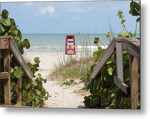 Cocoa Beach Metal Print featuring the photograph Walkway To The Beach by Art Block Collections