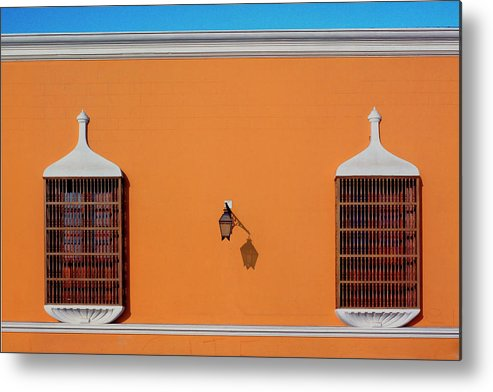 Bright Metal Print featuring the photograph Wall Lamp And Windows In Trujillo In Peru by John Rocha