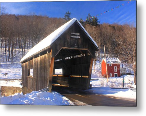 Covered Bridge Metal Print featuring the photograph Warren Covered Bridge Vermont by John Burk
