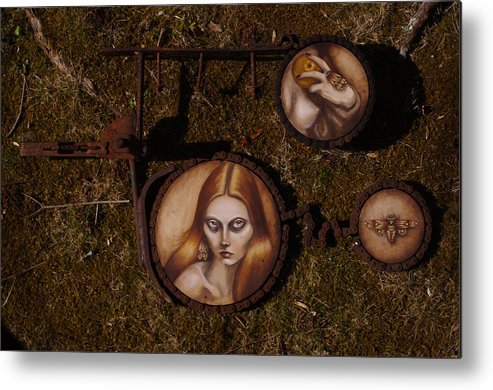 Metal Oil Painting Metal Sculpture Pop Surrealism Metal Print featuring the painting Wasteland by Michelle Fugate