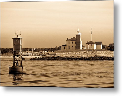 Lighthouse B&w Boat Sea Building Mooring Marina City Water Navigation Metal Print featuring the photograph Watch Hill Light 2 by Arthur Sa