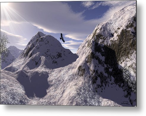 Snow Metal Print featuring the painting Watching Val D by Emma Alvarez