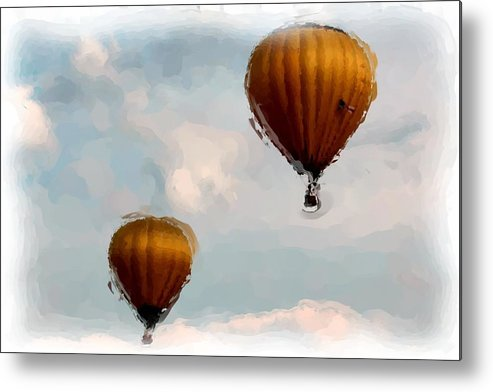 Hot Air Balloons Metal Print featuring the digital art Water Color Balloons by Gary Wilson
