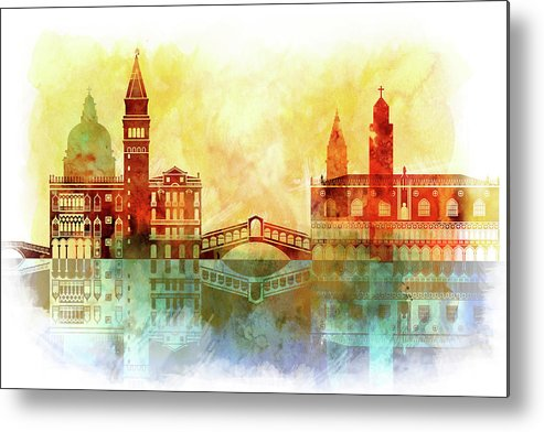 Watercolor Of Venice Metal Print featuring the painting watercolor of Venice by Dim Dom
