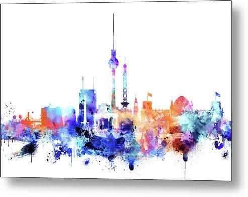 Watercolor Skyline Of Berlin Metal Print featuring the painting Watercolor Skyine Of Berlin, Germany by Dim Dom