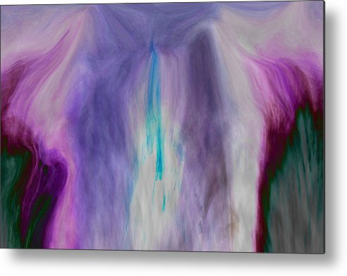 Abstract Art Metal Print featuring the digital art Waterfall by Linda Sannuti
