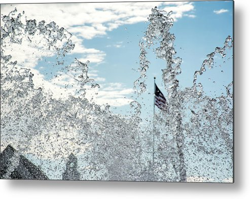Water Metal Print featuring the photograph Waterfront Fountain by Ed Waldrop