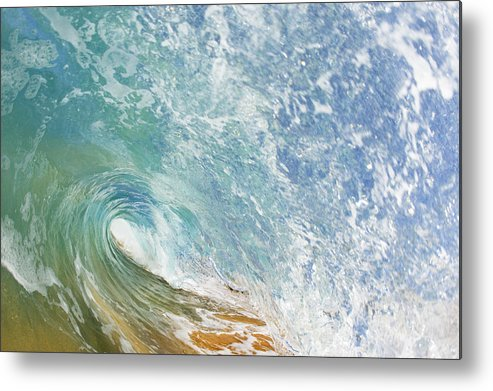 Amazing Metal Print featuring the photograph Wave Tube Along Shore by MakenaStockMedia - Printscapes