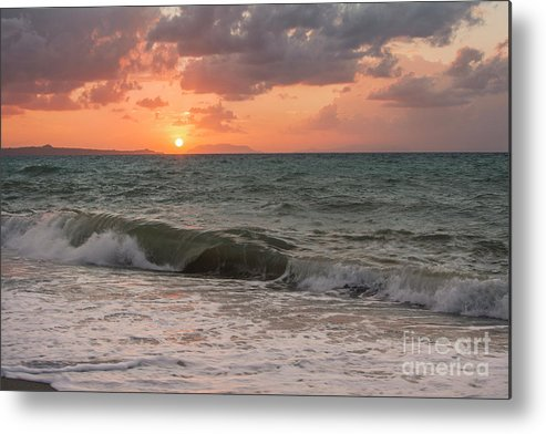 Ocean Metal Print featuring the photograph Waves At Sunset by Fabio Scrima