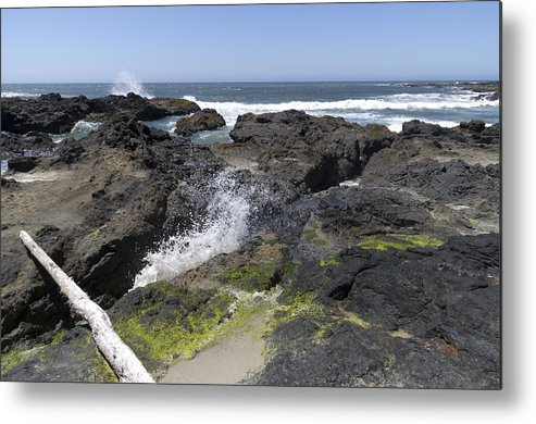 Devils Punch Bowl Metal Print featuring the photograph Waves Crash Ashore On A Lava Bed by John Trax