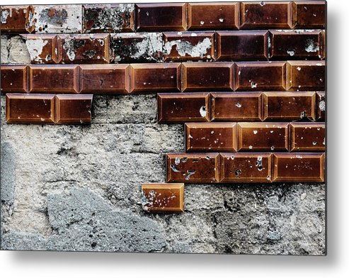 Abandoned Metal Print featuring the photograph Weathered Tile Wall by Marco Oliveira