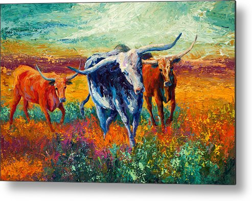 Long Horns Metal Print featuring the painting When The Cows Come Home by Marion Rose