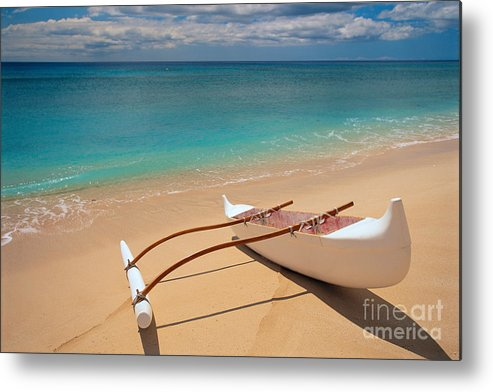 Afternoon Metal Print featuring the photograph White Outrigger Canoe by Dana Edmunds - Printscapes